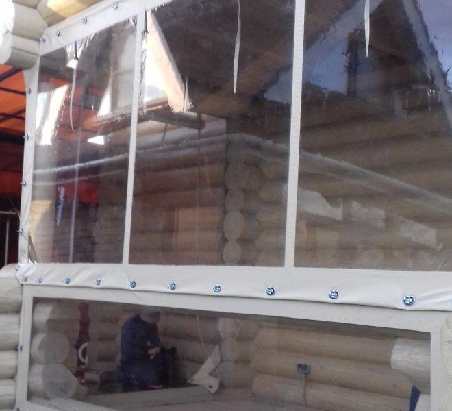 Мягкие окна для веранды на поворотных скобах
